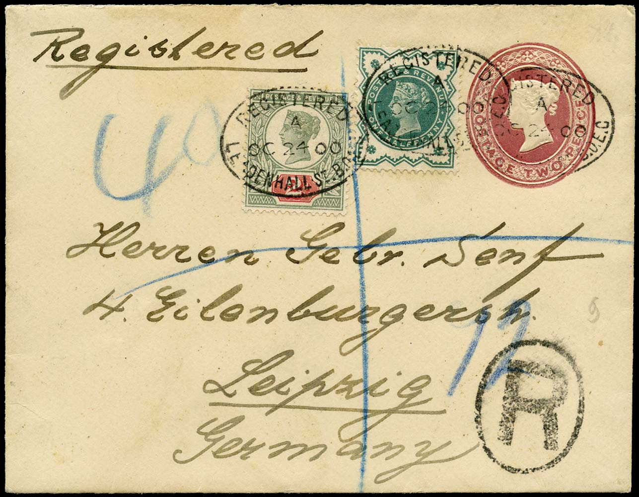 GB 1900  SG200, 213 Cover Registered to Leipzig, Germany