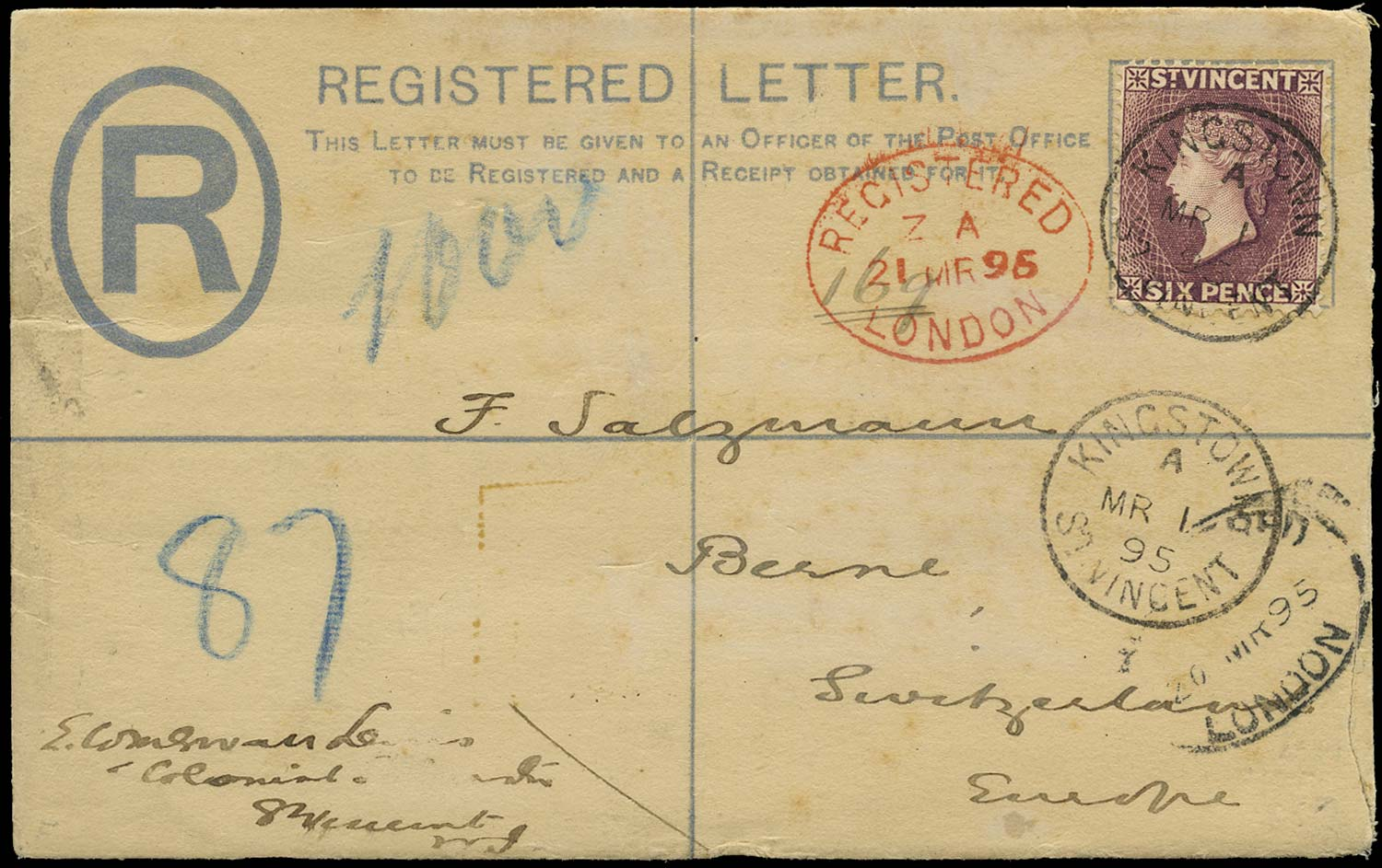 ST VINCENT 1895  SG57 Cover 6d dull purple on QV 2d grey P/S envelope