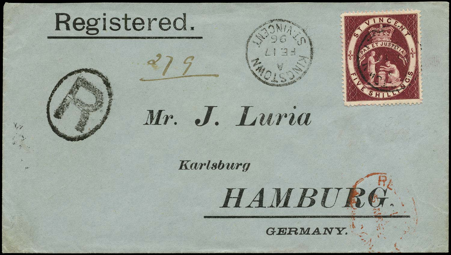 ST VINCENT 1895  SG53 Cover 5s lake registered to Hamburg