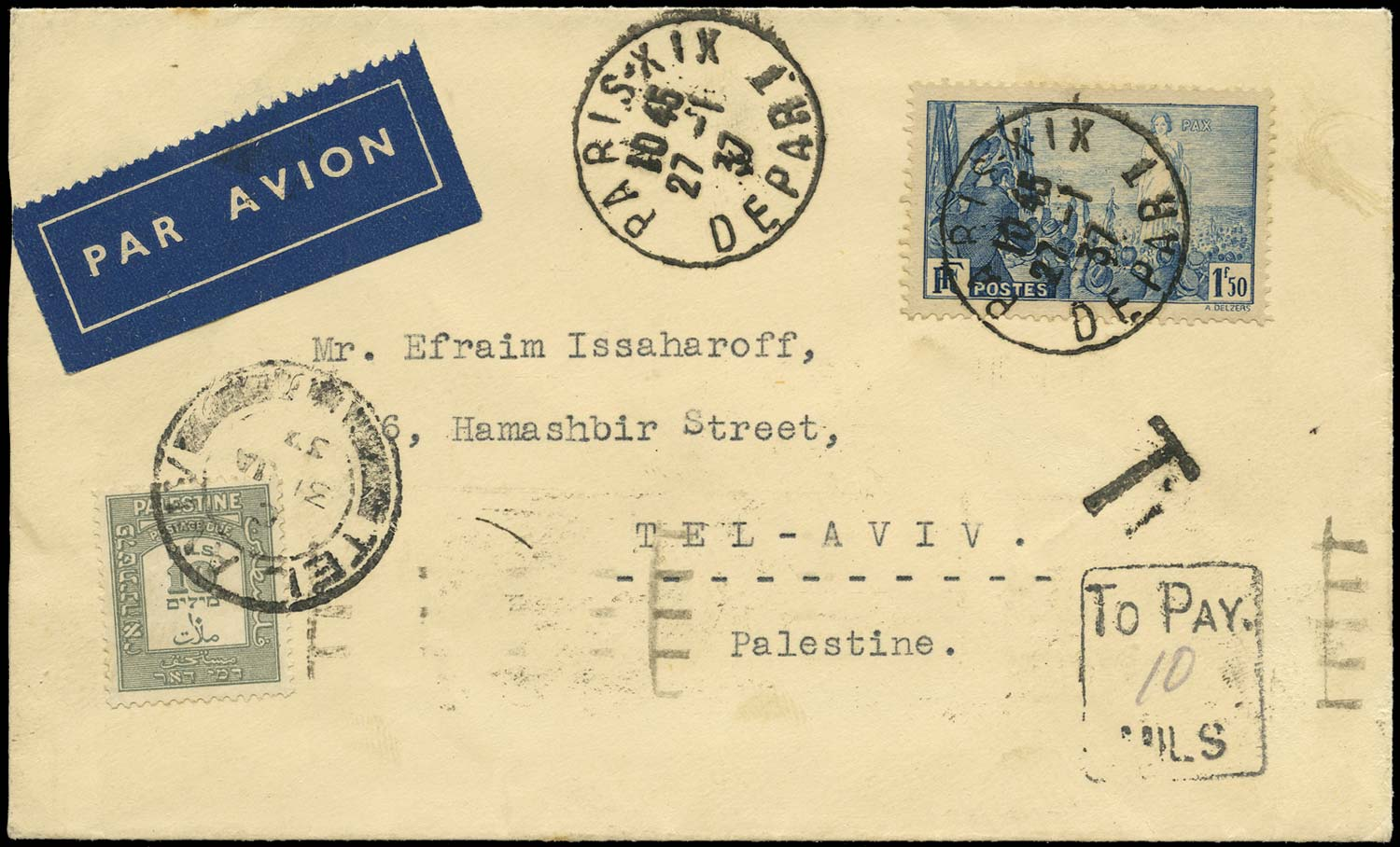 PALESTINE 1937  SGD17 Cover incoming postage due