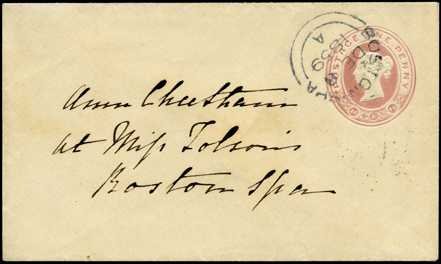GB 1859 Postal Stationery 1d Pink Envelope, Boston Spa blue cds