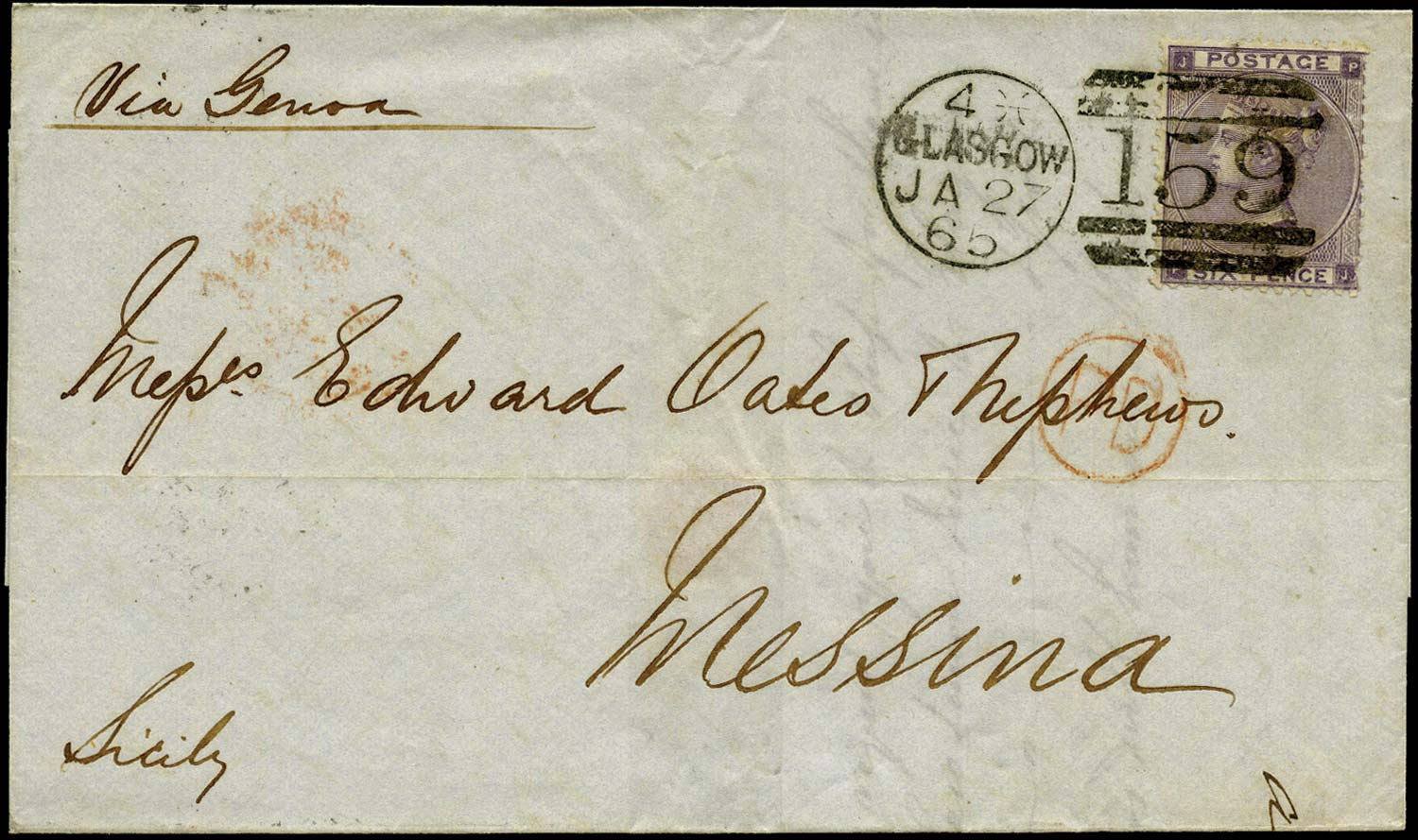 GB 1865  SG85 Pl.4 Cover Glasgow to Messina