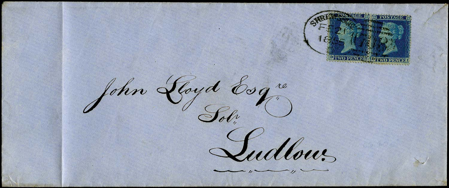 GB 1855  SG20 Pl.4 Cover Shrewsbury to Ludlow, Spoon cancel