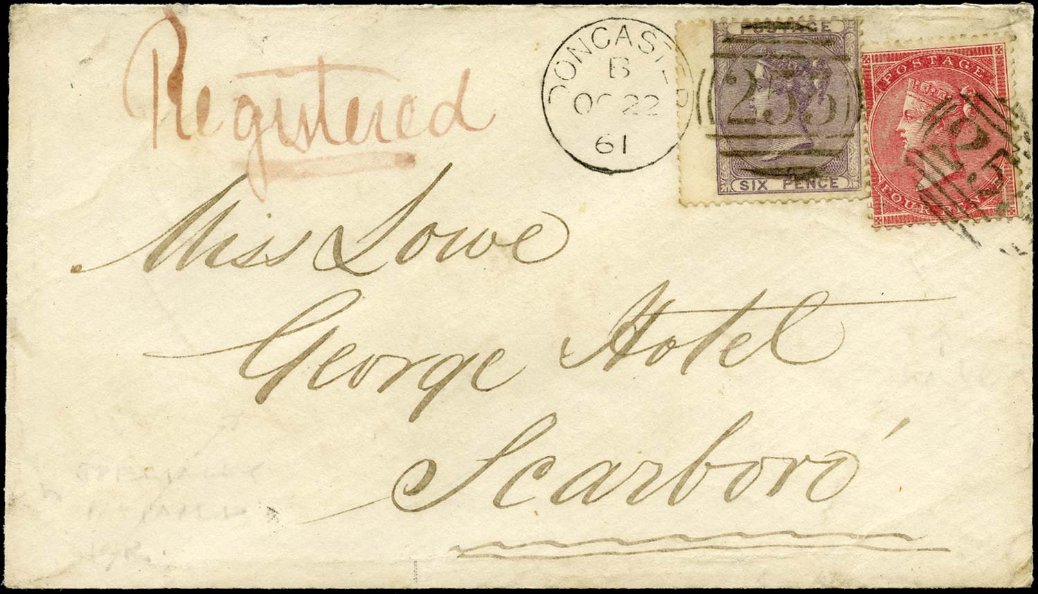GB 1861  SG66var, 68wi Cover Registered Mail Doncaster to Scarborough