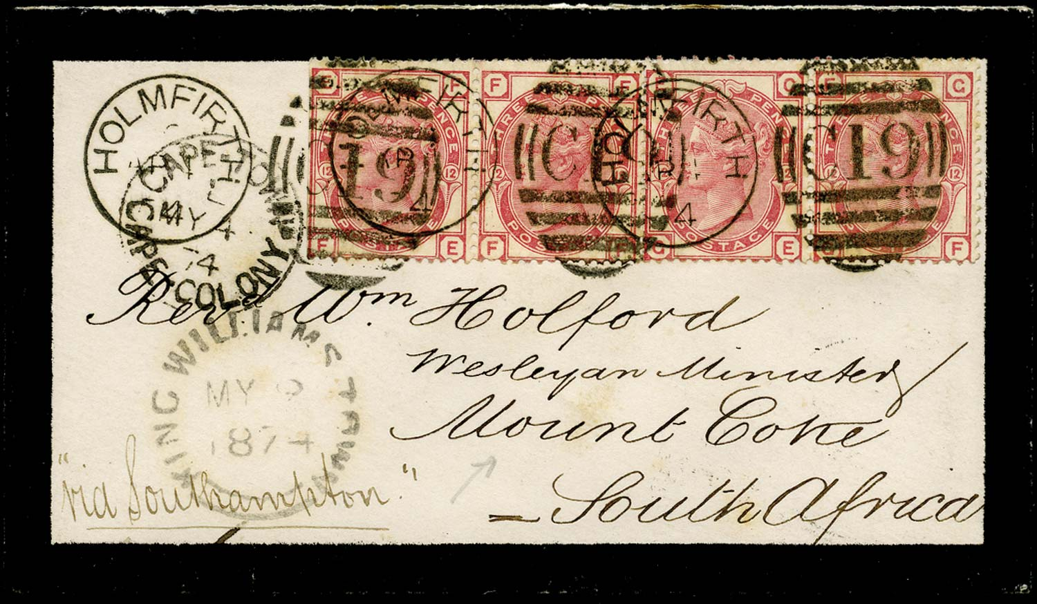 GB 1874  SG143 Pl.12 Cover Holmfirth to Mount Coke, South Africa