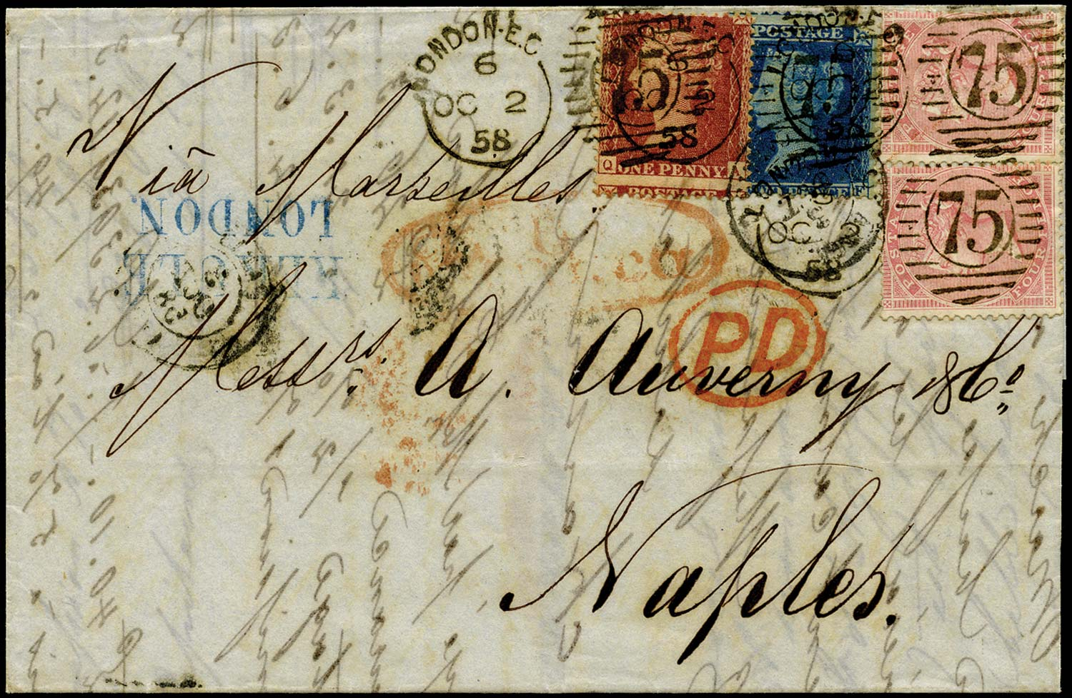GB 1858  SG35, 40, 66 Cover London to Naples