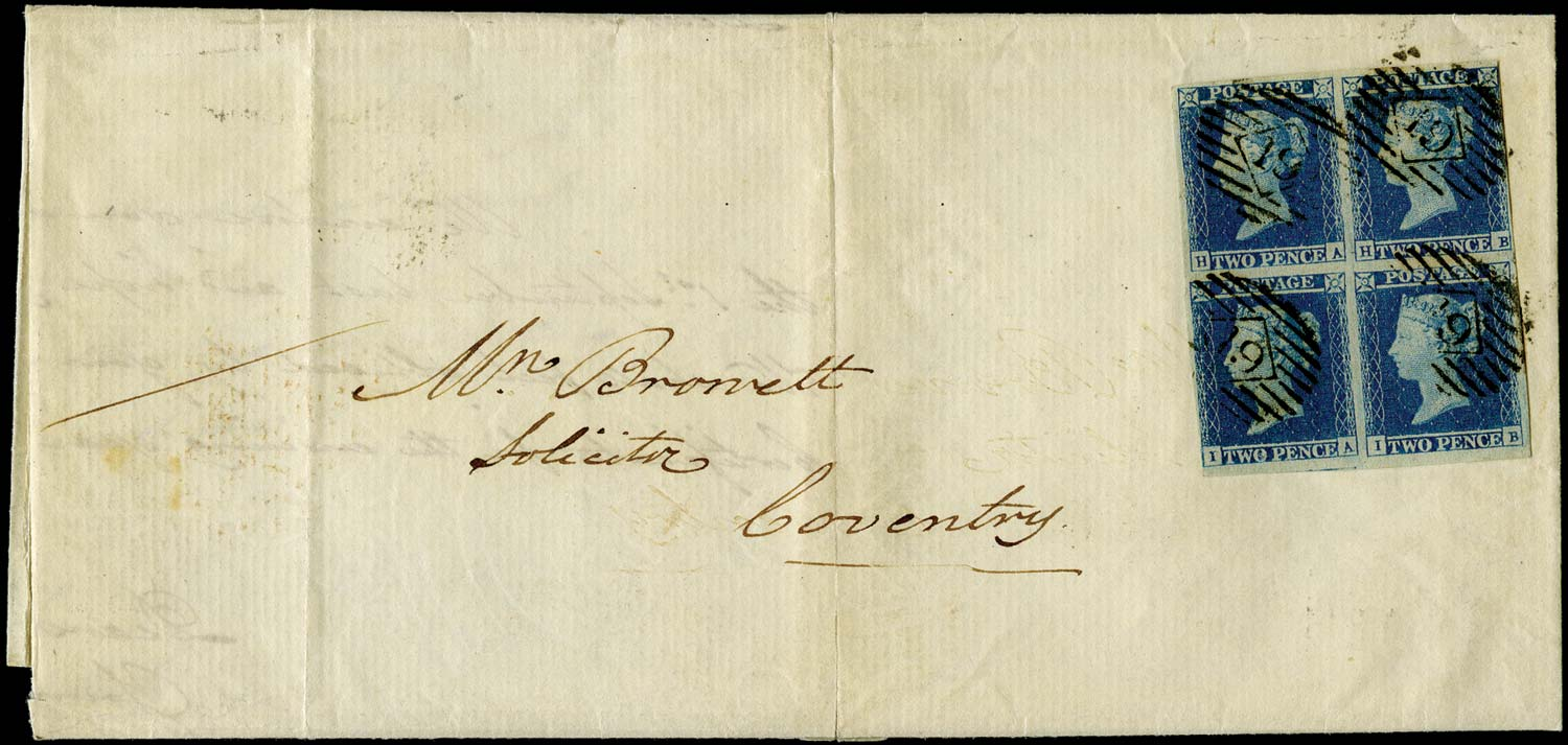 GB 1841  SG14 Pl.4 Cover block of four London to Coventry