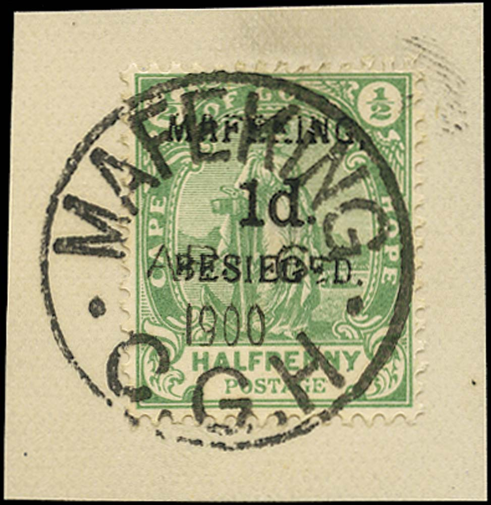 C.G.H. - MAFEKING 1900  SG2 Used 1d on ½d green pos. 1 of the setting