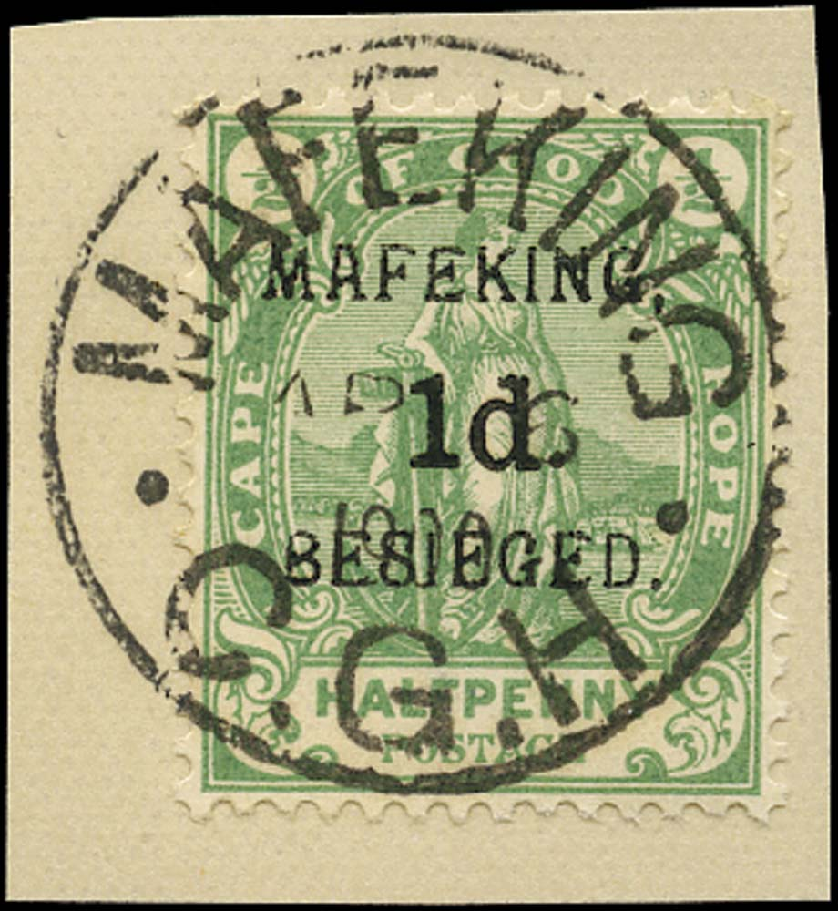 C.G.H. - MAFEKING 1900  SG2 Used 1d on ½d green pos. 3 of the setting