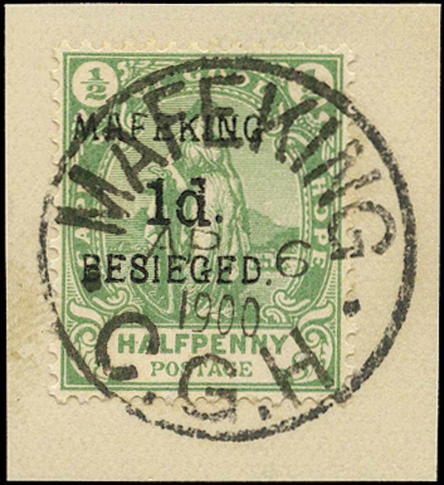 C.G.H. - MAFEKING 1900  SG2 Used 1d on ½d green pos. 5 of the setting
