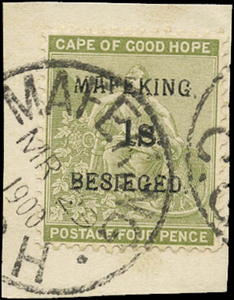 C.G.H. - MAFEKING 1900  SG5 Used 1s on 4d sage-green pos. 2 of the setting
