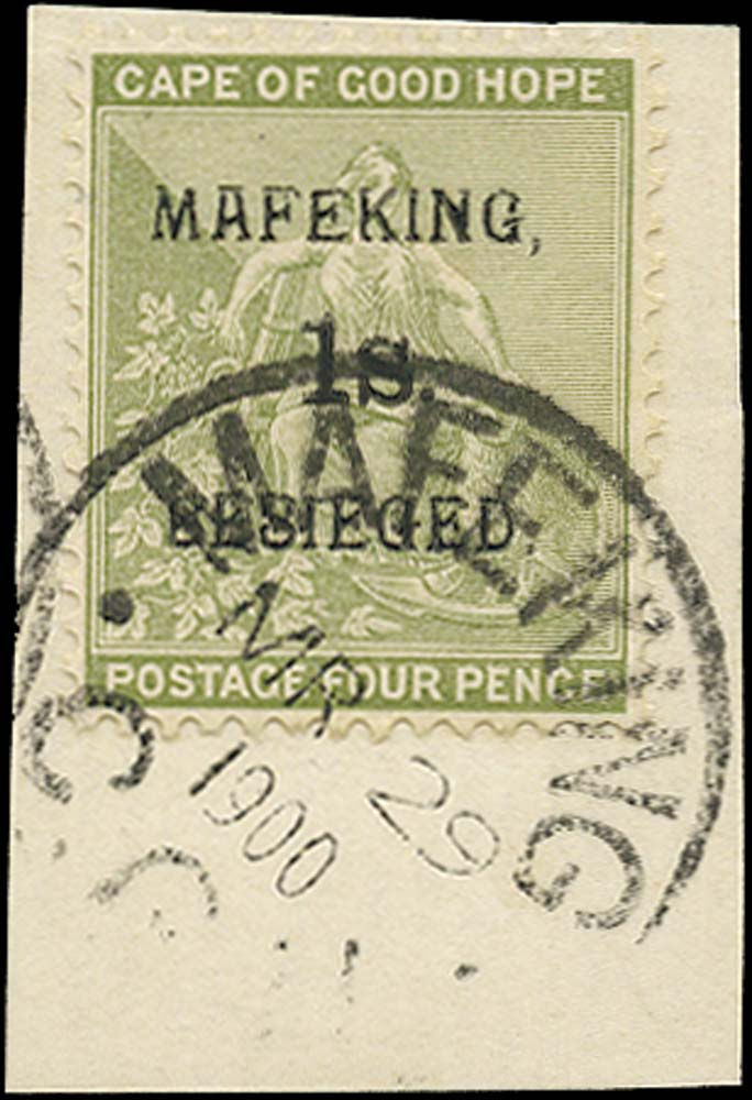 C.G.H. - MAFEKING 1900  SG5 Used 1s on 4d sage-green pos. 3 of the setting