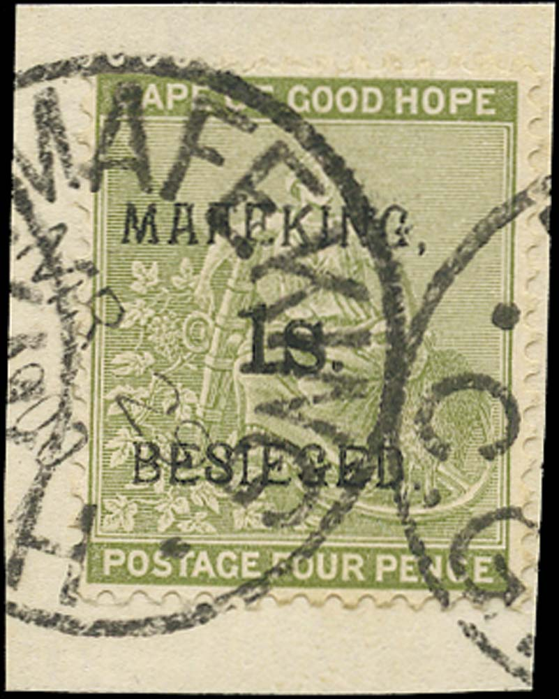 C.G.H. - MAFEKING 1900  SG5 Used 1s on 4d sage-green pos. 4 of the setting