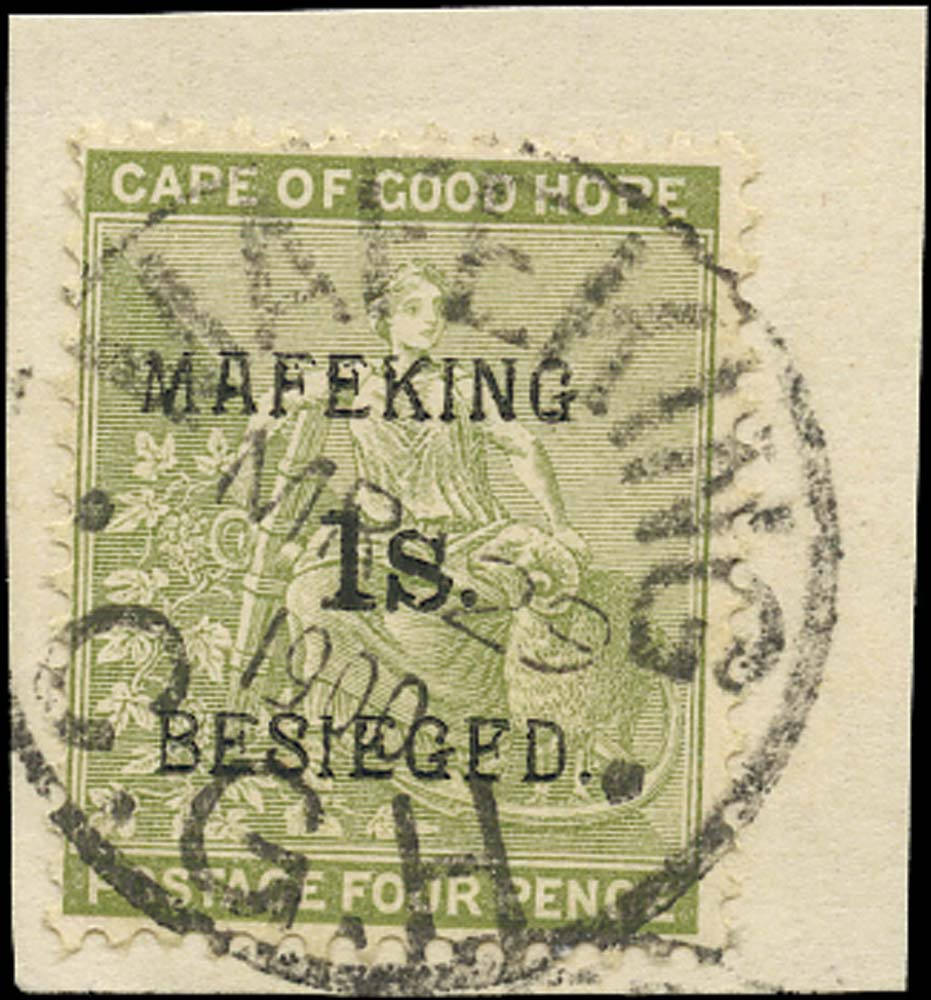 C.G.H. - MAFEKING 1900  SG5 Used 1s on 4d sage-green pos. 5 of the setting