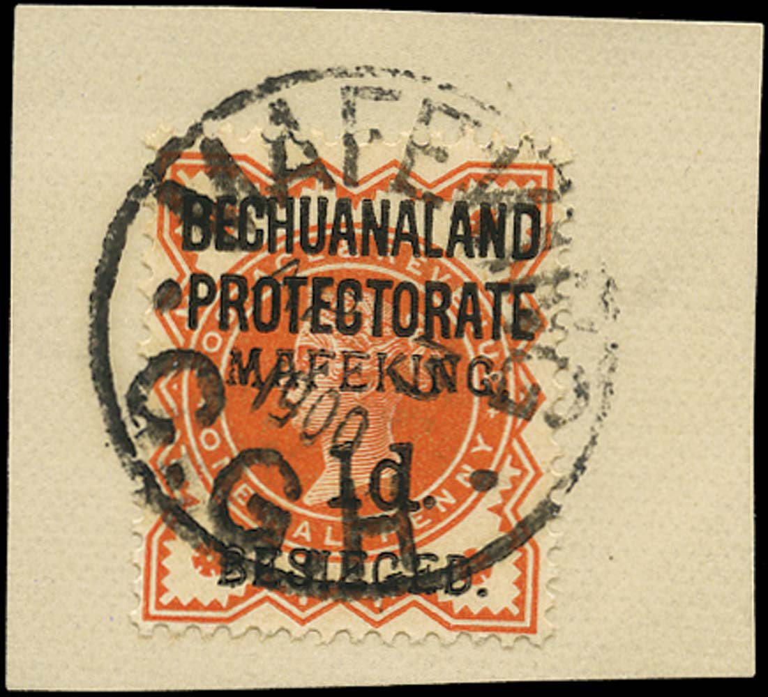 C.G.H. - MAFEKING 1900  SG6 Used 1d on ½d vermilion pos. 2 of the setting