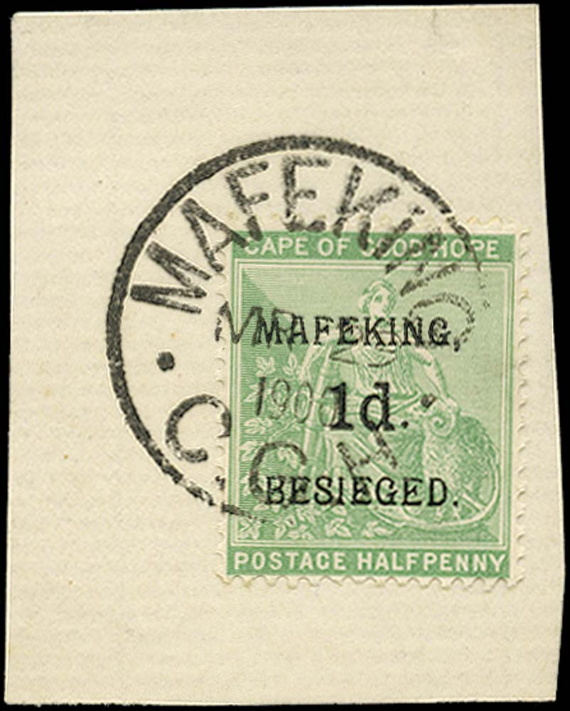 C.G.H. - MAFEKING 1900  SG1 Used 6d on 2d green and carmine type 2 surch