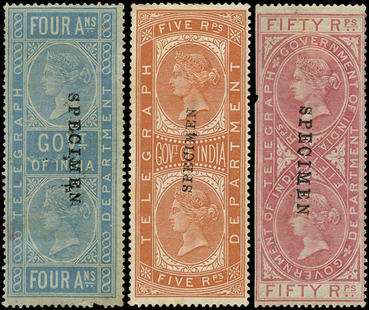 INDIA 1869  SGT6, 12, 19 Telegraph