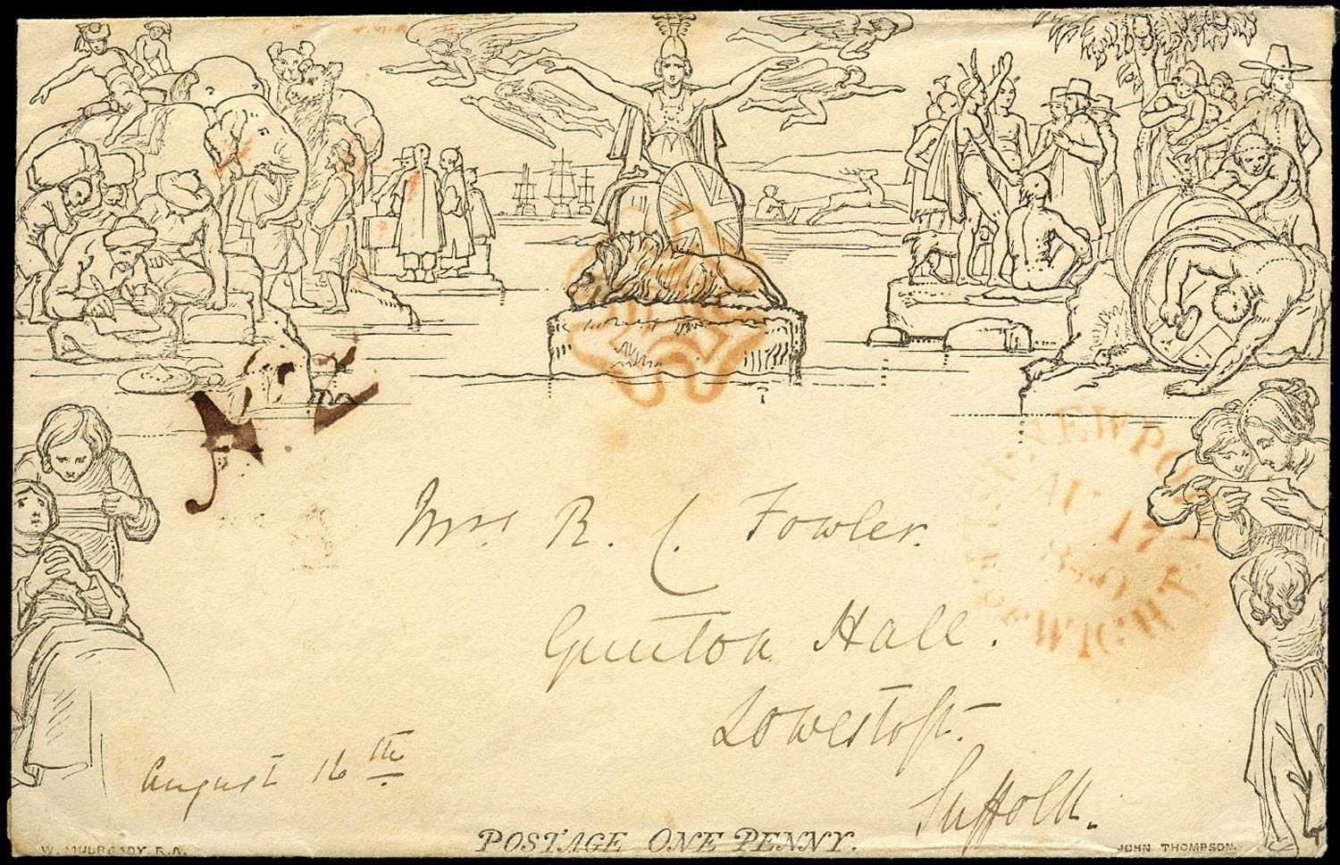 GB 1840  SGME2 Cover Newport I.O.W. to Lowerstoft