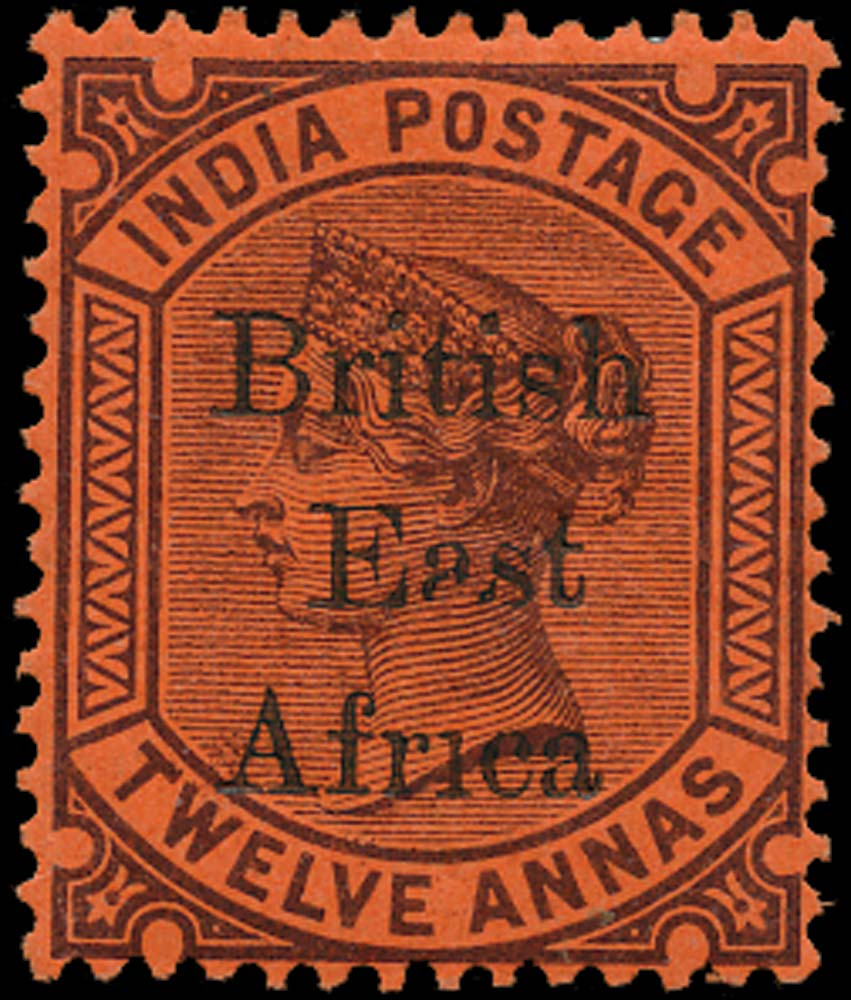 BRITISH EAST AFRICA 1895  SG58b Mint 12a purple on red variety Afr1ca