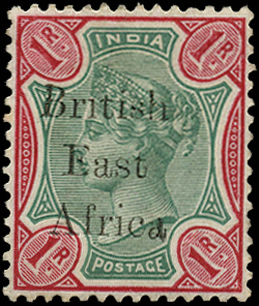 BRITISH EAST AFRICA 1895  SG60b Mint 1r green and carmine variety Br1tish
