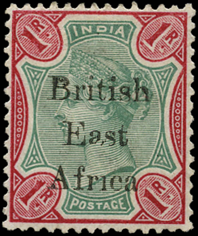 BRITISH EAST AFRICA 1895  SG60c Mint 1r green and carmine variety Afr1ca