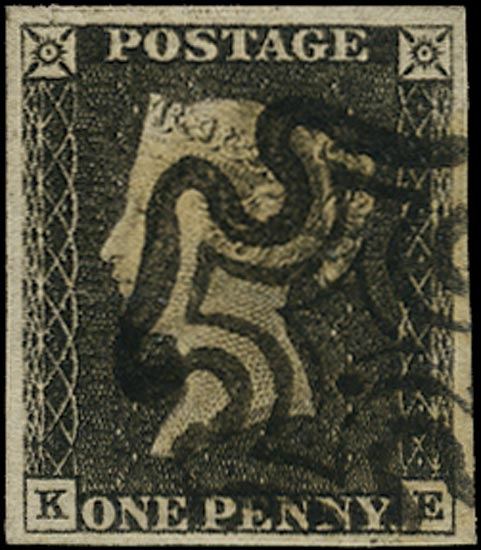 GB 1840  SG3 Pl.1a Penny Black VFU black MC (KE)