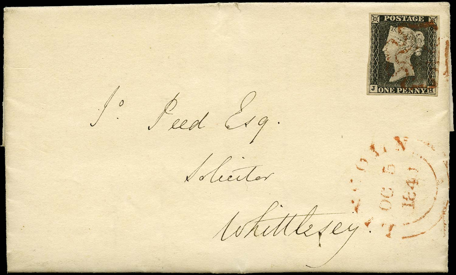 GB 1840  SG3 Pl.1a Penny Black cover Lincoln to Whittlesey