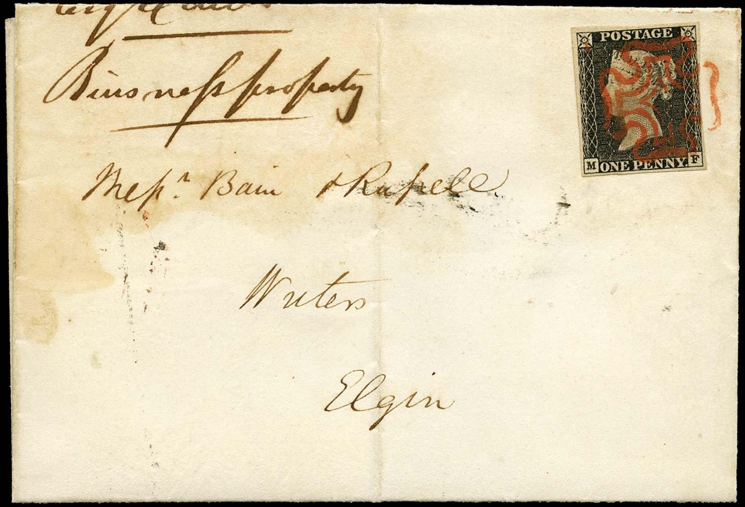 GB 1840  SG3 Pl.1a Penny Black cover Edinburgh to Elgin