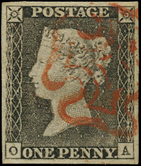 GB 1840  SG3 Pl.1a Penny Black red MC (OA) re-entry