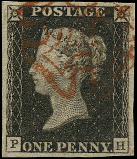 GB 1840  SG2 Pl.1a Penny Black red MC (PH)