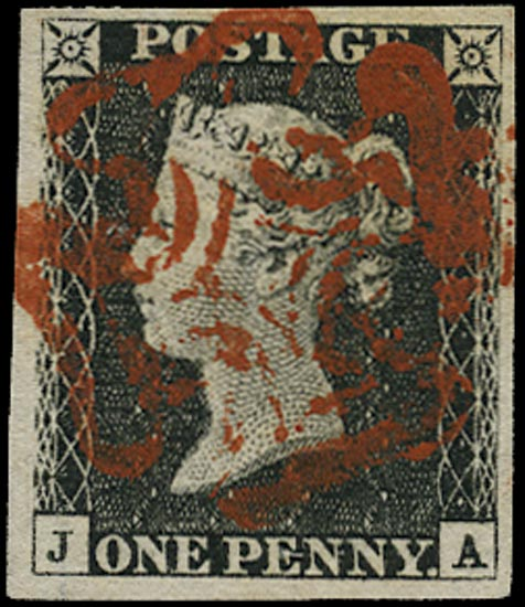 GB 1840  SG2 Pl.1b Penny Black vfu red MC (JA)