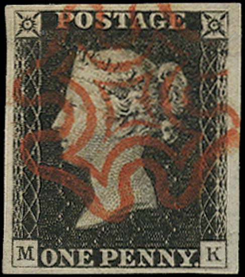 GB 1840  SG2 Pl.1b Penny Black superb used red MC (MK)