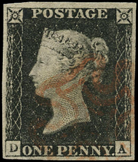 GB 1840  SG2 Pl.2 Penny Black VFU red MC (DA)