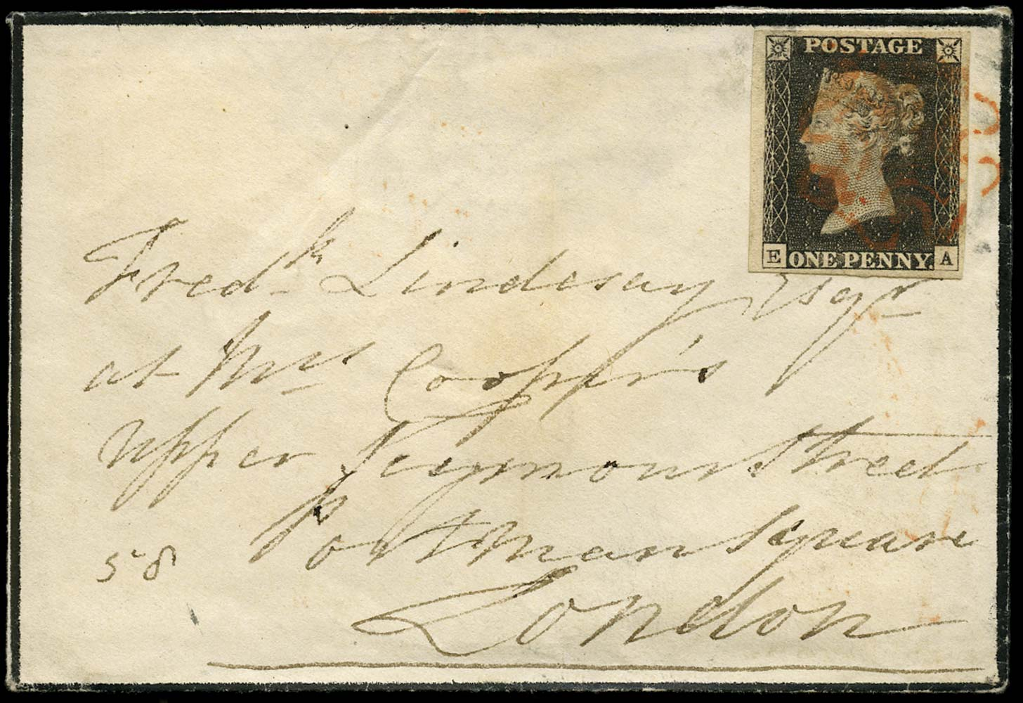 GB 1840  SG2 Pl.3 Penny Black envelope Tonbridge Wells to London