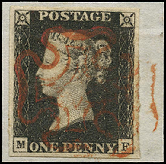 GB 1840  SG1 Pl.4 Penny Black VFU crisp red MC (MF) on piece