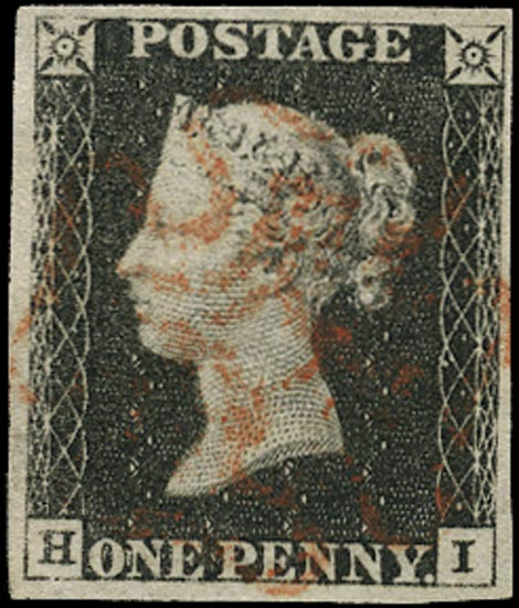 GB 1840  SG2 Pl.4 Penny Black VFU red MC (HI)