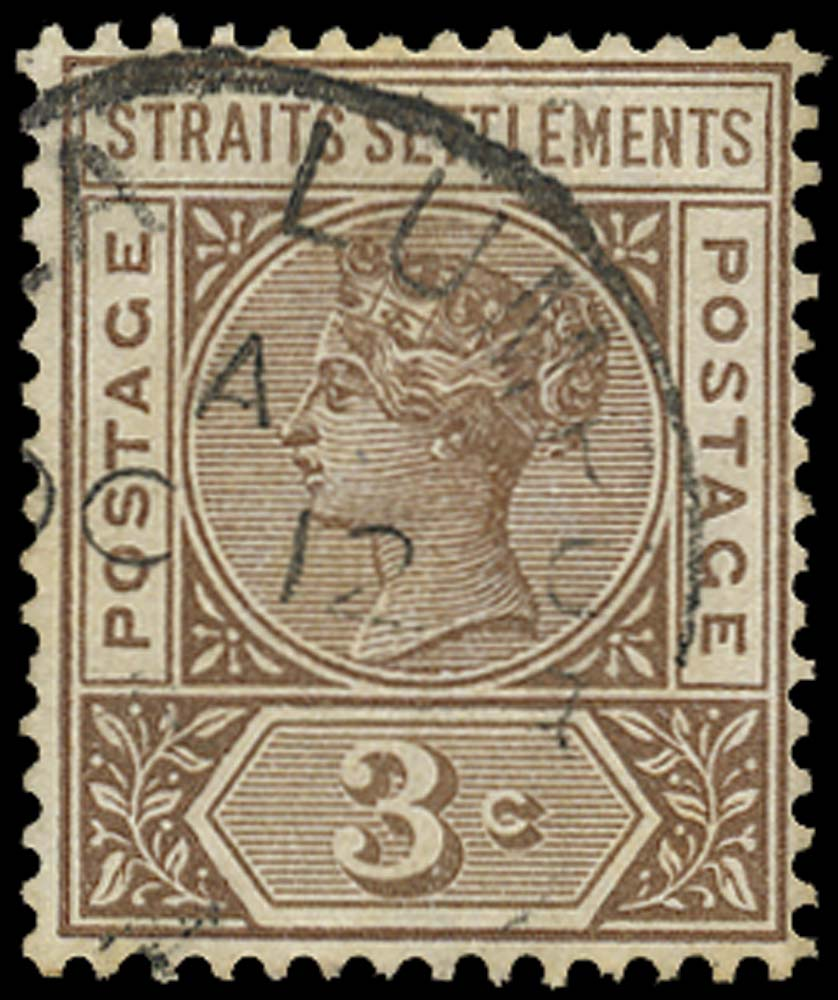 MALAYA - STRAITS 1892  SG97a Used 3c brown variety Repaired S