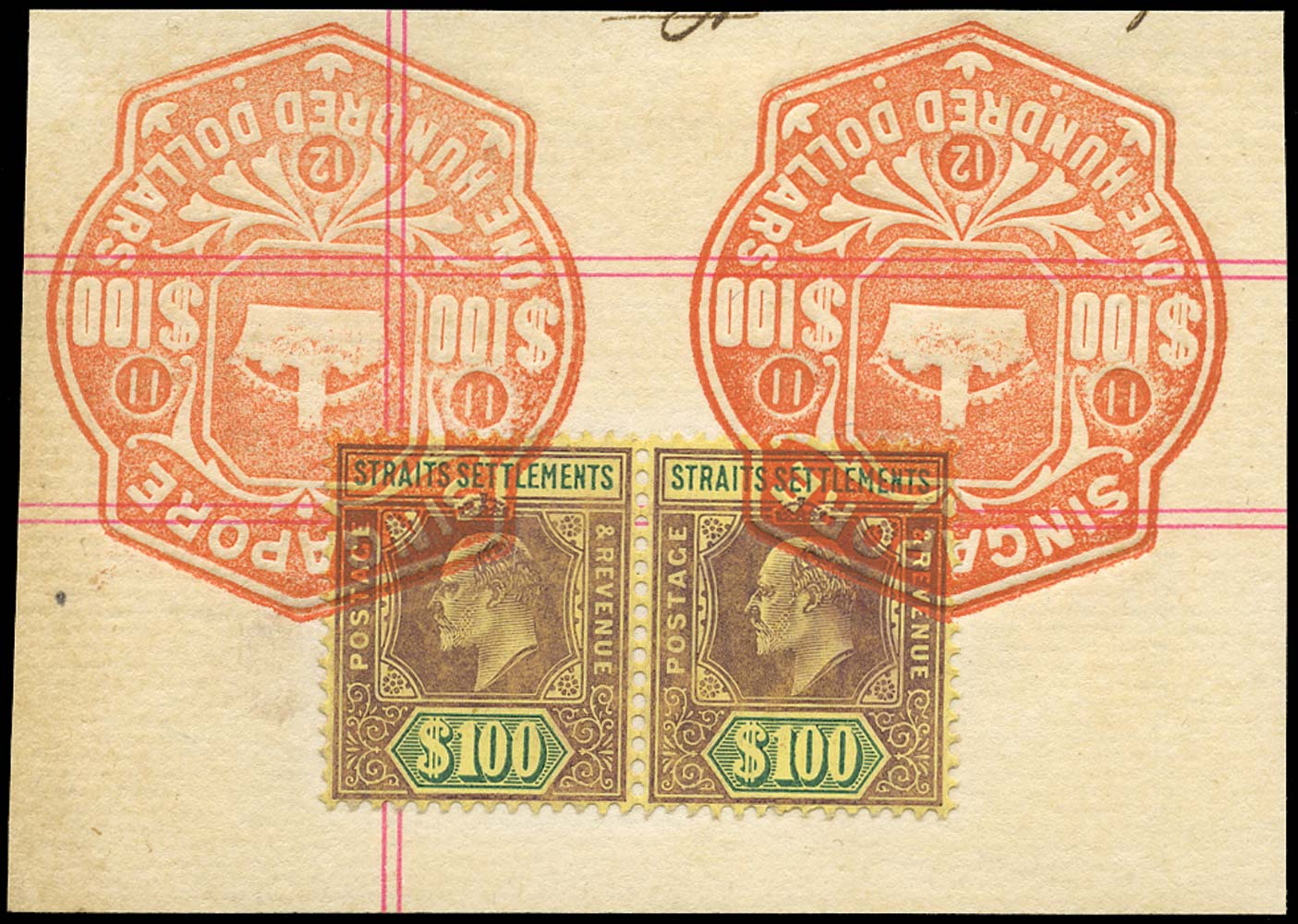 MALAYA - STRAITS 1904  SG140 Revenue $100 watermark MCA fiscally used