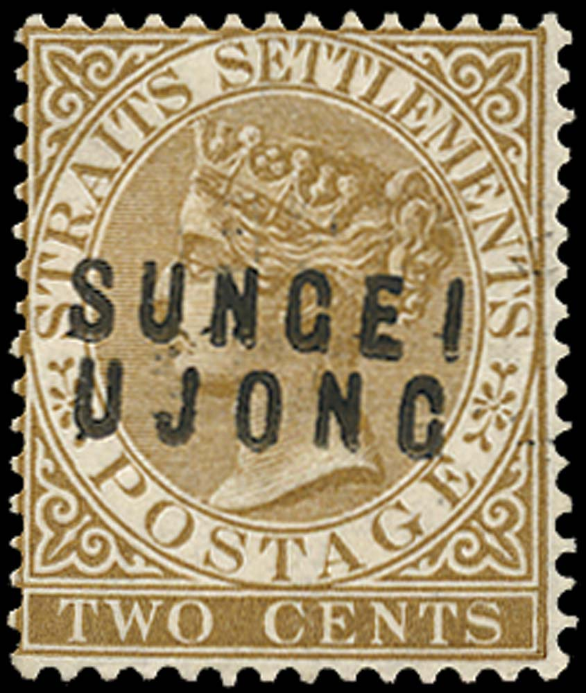MALAYA - S. UJONG 1881  SG11 Mint 2c brown type 12 and 14 overprints