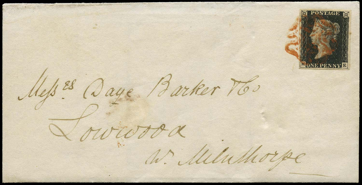 GB 1840  SG2 Pl.5 Penny Black cover Wigan to Milnthorpe