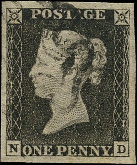 GB 1840  SG3 Pl.7 Penny Black VFU black MC (ND)