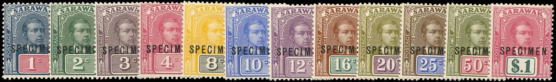 SARAWAK 1918  SG50s/61s Specimen set of 12 to $1