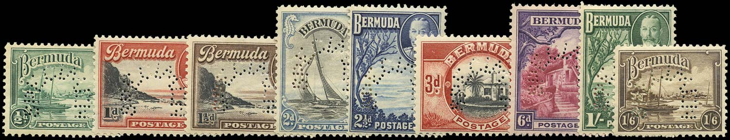 BERMUDA 1936  SG98s/106s Specimen set of 9 to 1s6d unmounted