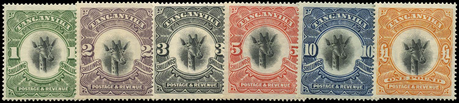 TANGANYIKA 1922  SG83/88 Mint Giraffe high values set to £1