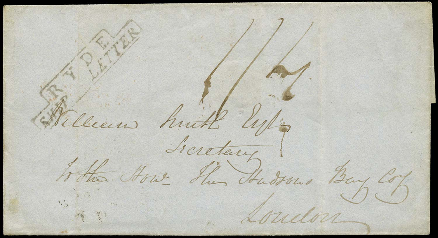 GB 1836 Pre-Stamp - Ryde Type S3 Ship Letter