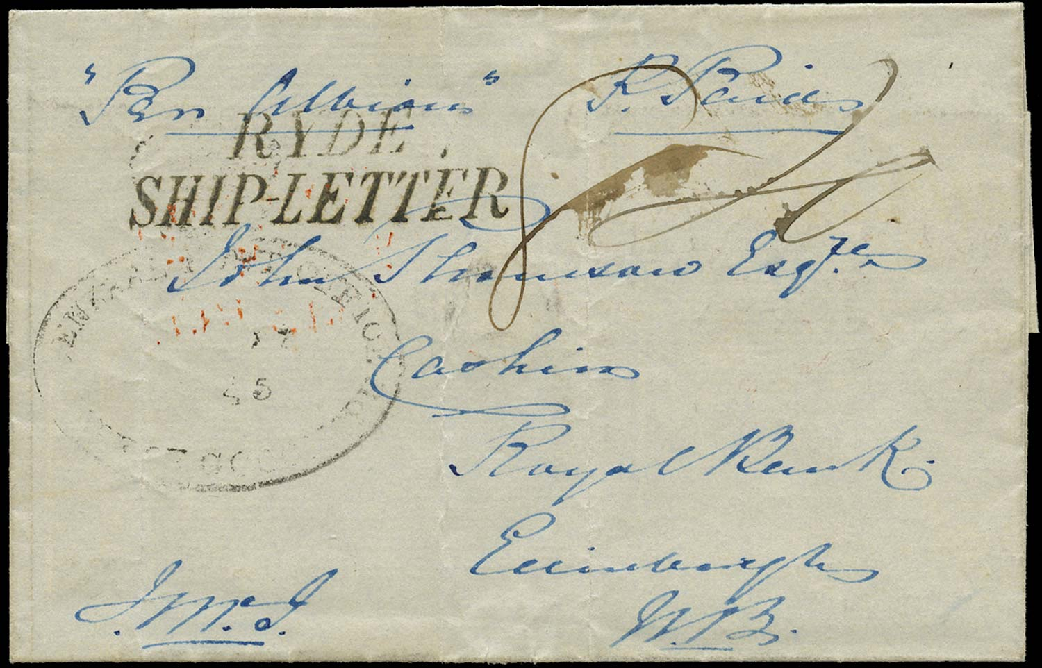 GB 1845 Pre-Stamp - Ryde type S5 Ship Letter