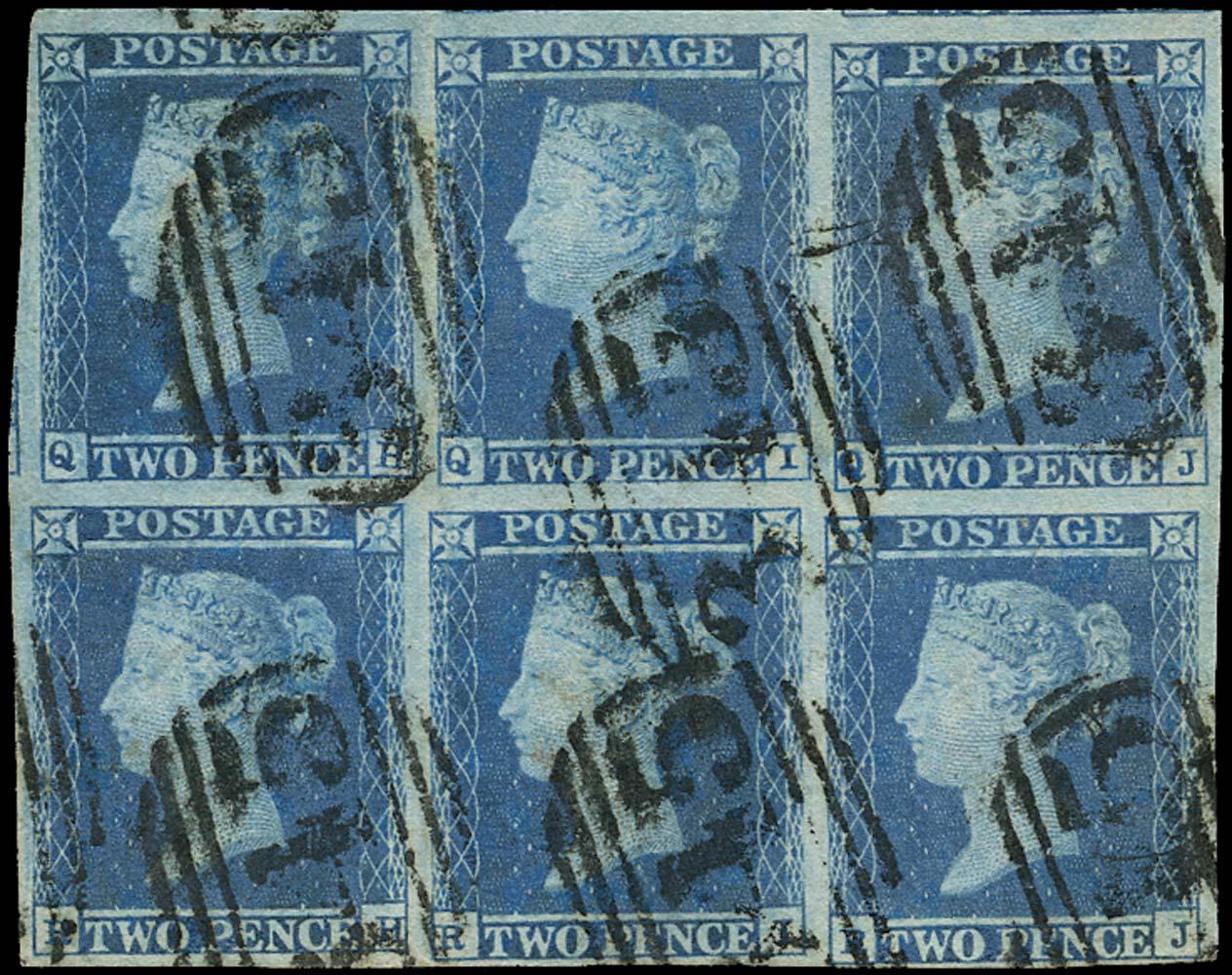 GB 1841  SG14 Pl.4 Used block of six (QH-RJ)