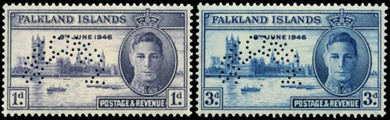 FALKLAND ISLANDS 1946  SG164s/5s Specimen