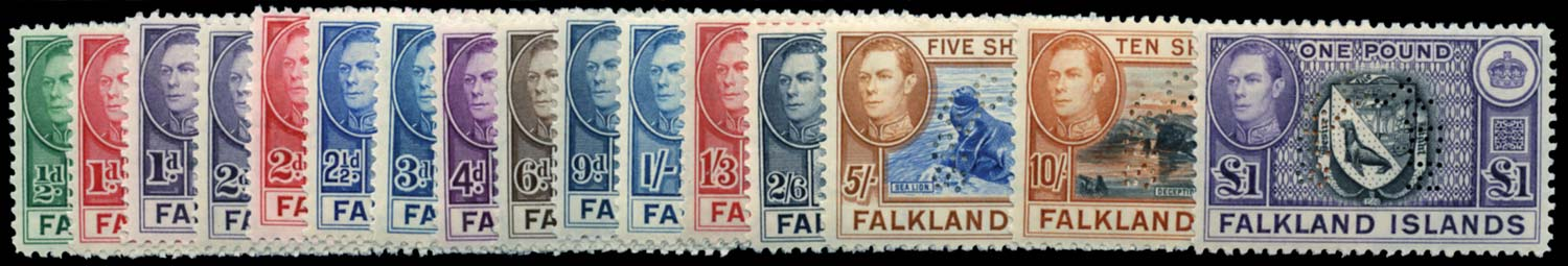 FALKLAND ISLANDS 1938  SG146s/63s Specimen