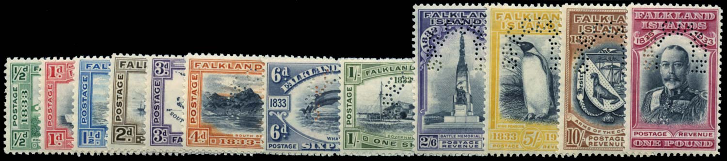FALKLAND ISLANDS 1933  SG127s/38s Specimen
